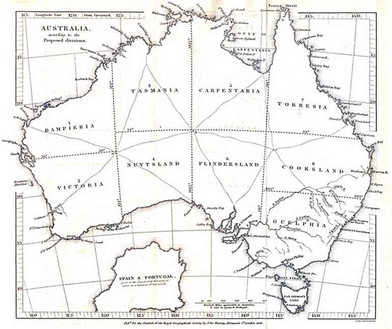 Early proposal to subdivide Australia created around 1838