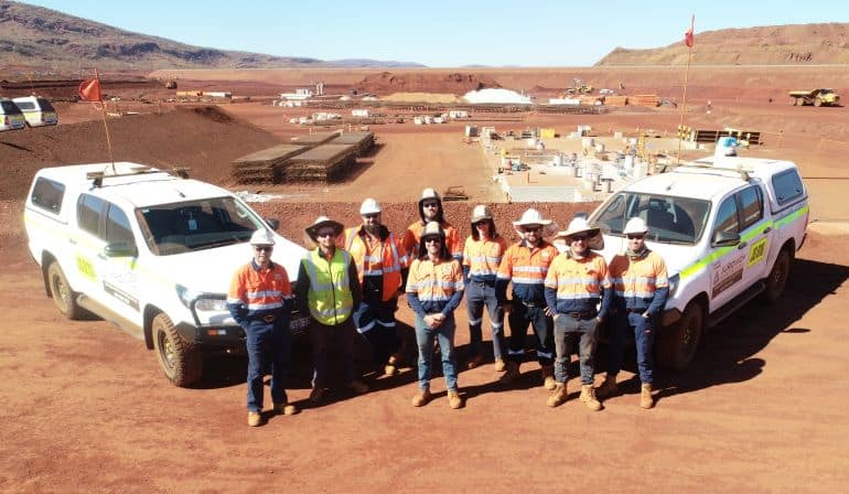 our surveyors on site in outback australia